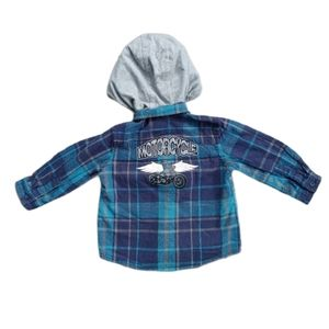 💗Plaid Motorcycle Button-Down Shirt, Hood